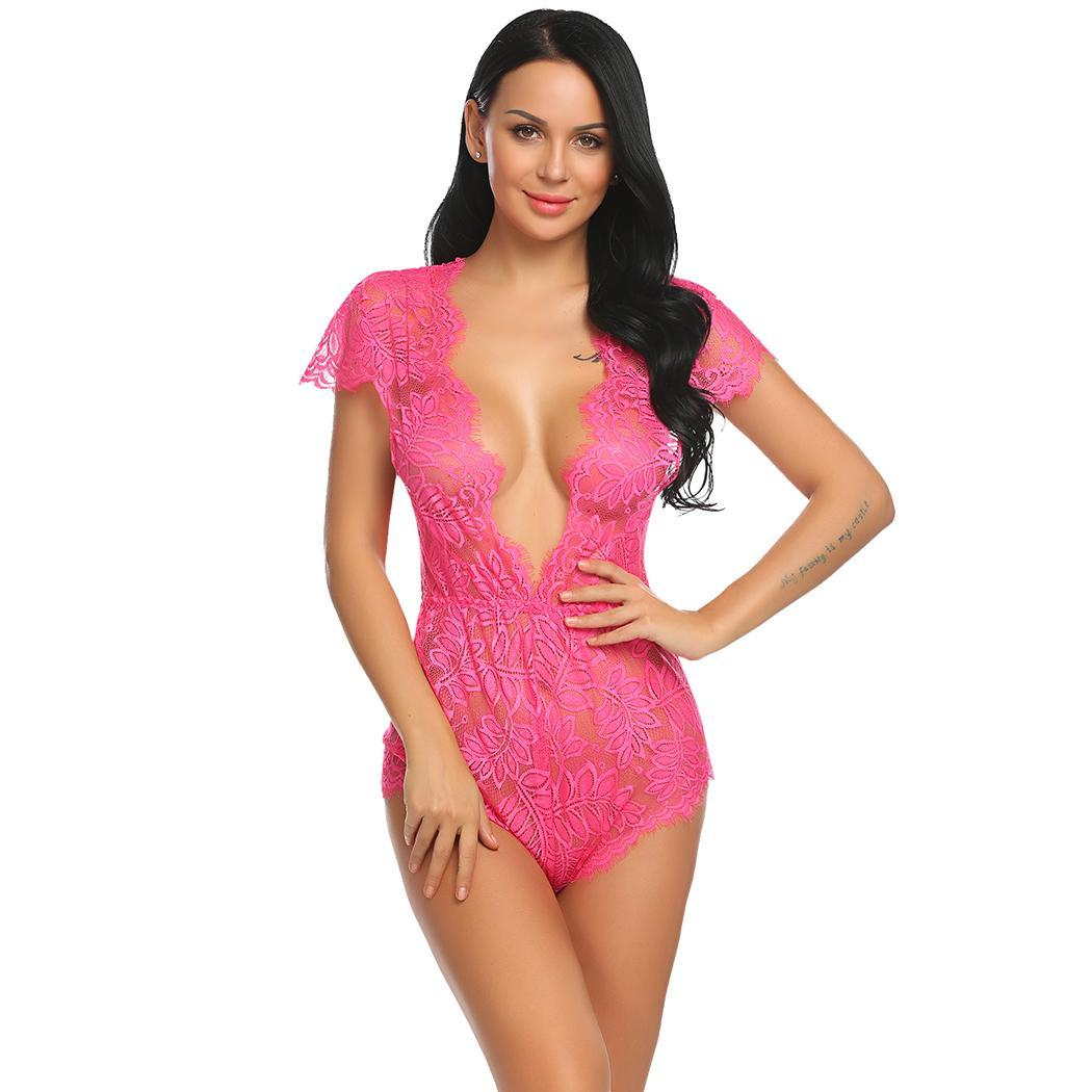 6dc309e4ae Bestselling New Women Sexy One Piece Lingerie Bodysuit Plunging Lace Teddy  Romper Overall